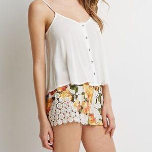 Forever 21 Crochet-Paneled Floral Shorts